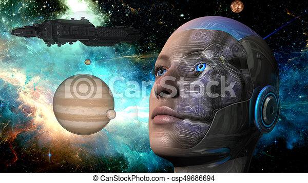 Cyborg-Frau - Humanoid - csp49686694