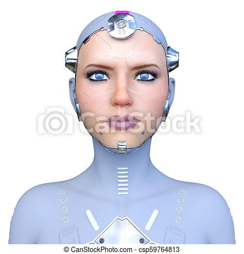 cyborg, frau, modell, 3d - csp59764813