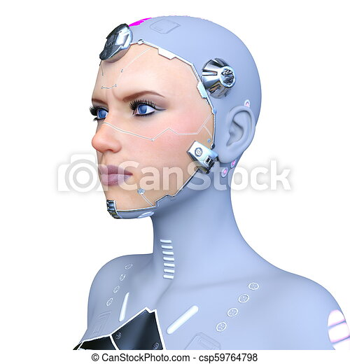 Cyborg Woman vom 3D-Modell - csp59764798