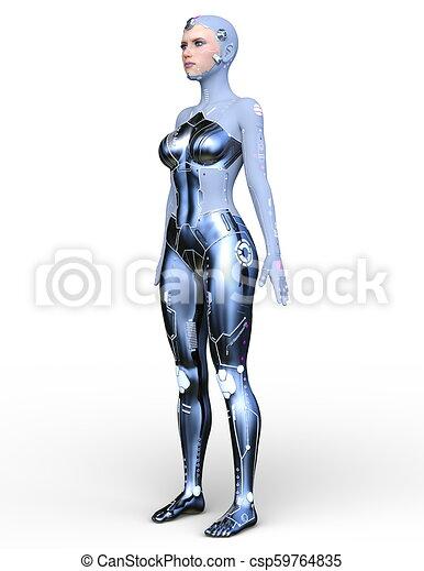 cyborg, frau, modell, 3d - csp59764835