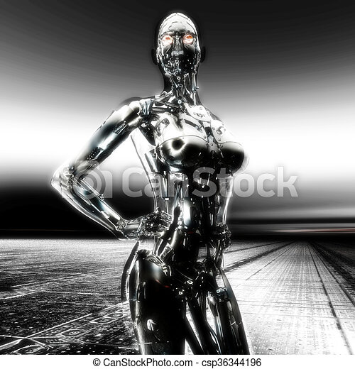 cyborg, illustration;, übertragung, 3d - csp36344196