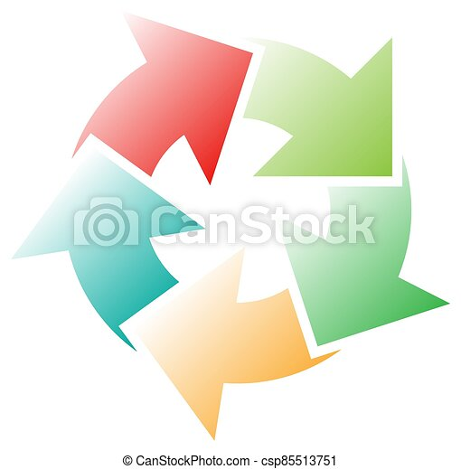 cycle and cyclical arrows. circular, concentric and radial cursor, vector illustration. concept graphic for revision, renewal or synchronization, process, progress and reload, revise concept - csp85513751