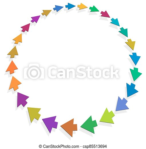 cycle and cyclical arrows. circular, concentric and radial cursor, vector illustration. concept graphic for revision, renewal or synchronization, process, progress and reload, revise concept - csp85513694