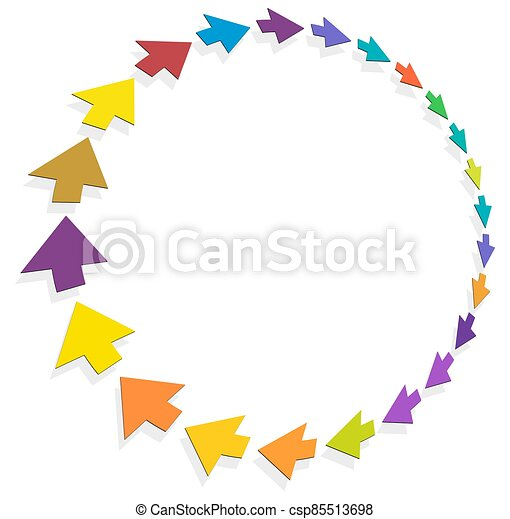 cycle and cyclical arrows. circular, concentric and radial cursor, vector illustration. concept graphic for revision, renewal or synchronization, process, progress and reload, revise concept - csp85513698