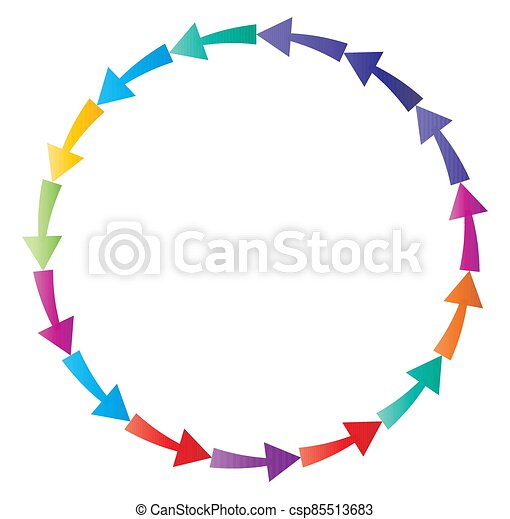 cycle and cyclical arrows. circular, concentric and radial cursor, vector illustration. concept graphic for revision, renewal or synchronization, process, progress and reload, revise concept - csp85513683