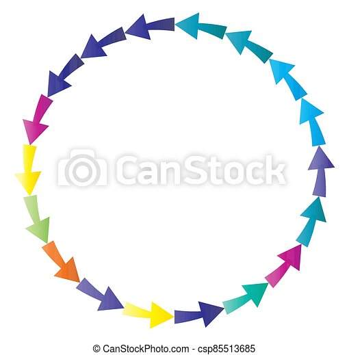cycle and cyclical arrows. circular, concentric and radial cursor, vector illustration. concept graphic for revision, renewal or synchronization, process, progress and reload, revise concept - csp85513685