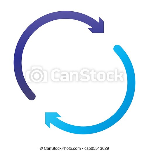 cycle and cyclical arrows. circular, concentric and radial cursor, vector illustration. concept graphic for revision, renewal or synchronization, process, progress and reload, revise concept - csp85513629