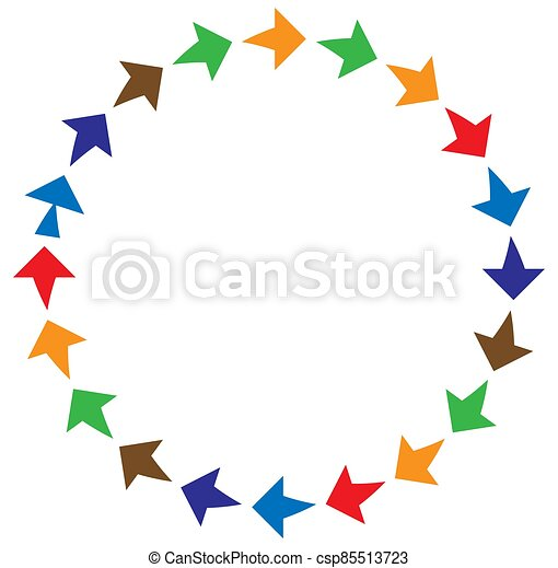 cycle and cyclical arrows. circular, concentric and radial cursor, vector illustration. concept graphic for revision, renewal or synchronization, process, progress and reload, revise concept - csp85513723