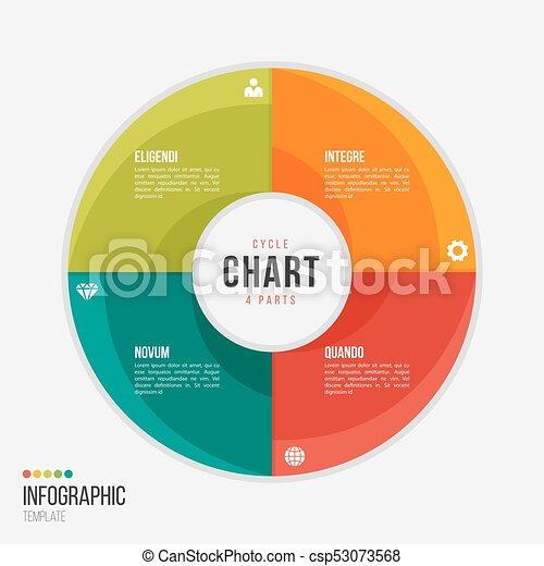 cycle chart infographic template with 4 parts options steps for rh canstockphoto com Software Development Life Cycle Diagram Cycle of Abuse Diagram