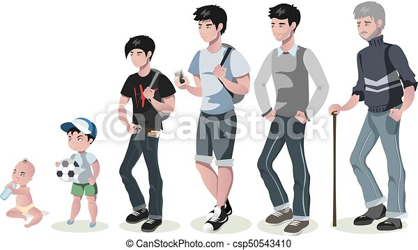 Cycle of life for men. From baby to senior. - csp50543410