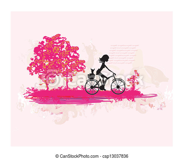 Cycling Grunge Poster with silhouette Girl  - csp13037836