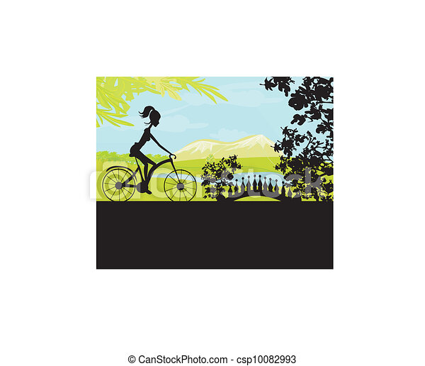 Cycling Poster with silhouette Girl - csp10082993