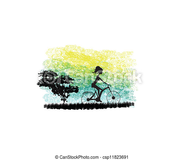 Cycling Poster with silhouette Girl  - csp11823691