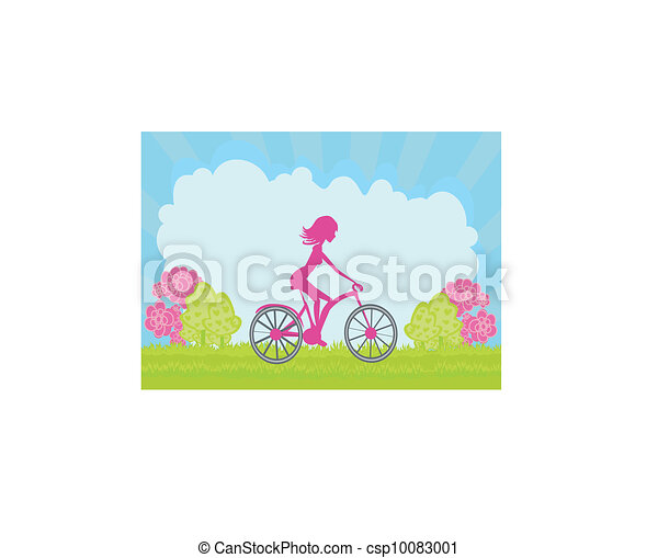 Cycling Poster with silhouette Girl  - csp10083001