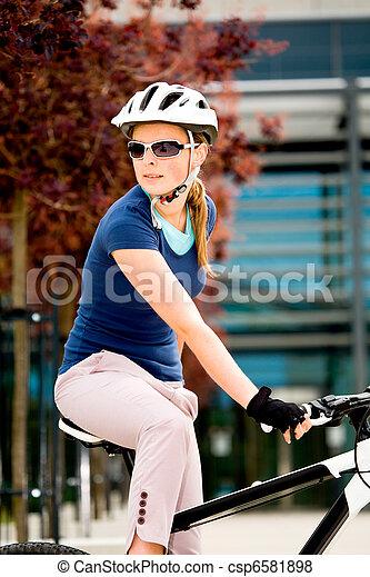 cycling woman - csp6581898