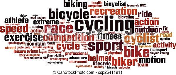 cyclisme, mot, nuage - csp25411911