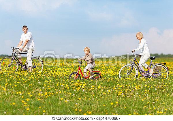 cyclisme, par, famille, nature - csp14708667