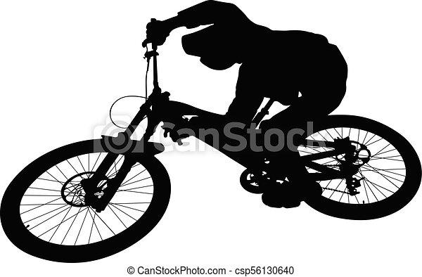 cyclist jump downhill mountain biking - csp56130640