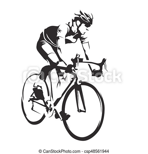 Cyclist On His Road Bike Cycling Abstract Vector Silhouette