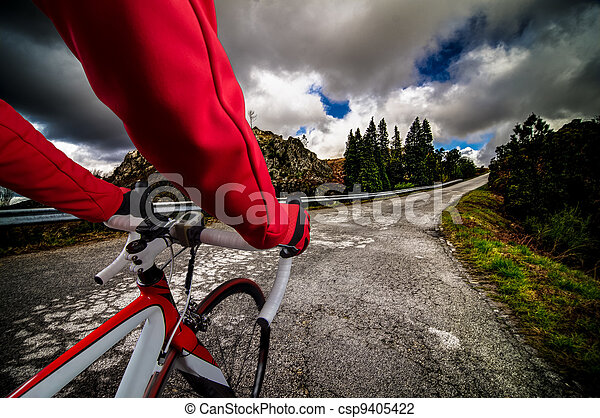 Cyclist on the road - csp9405422