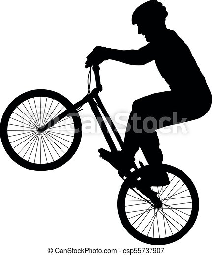 Cyclist Performs A Trick Rider Trial Silhouette Bike Vector