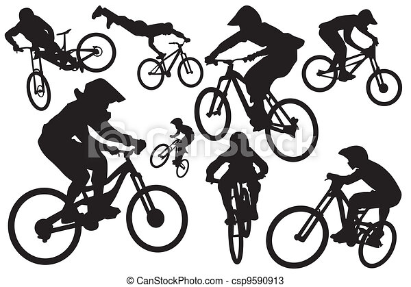Cyclist silhouettes - csp9590913