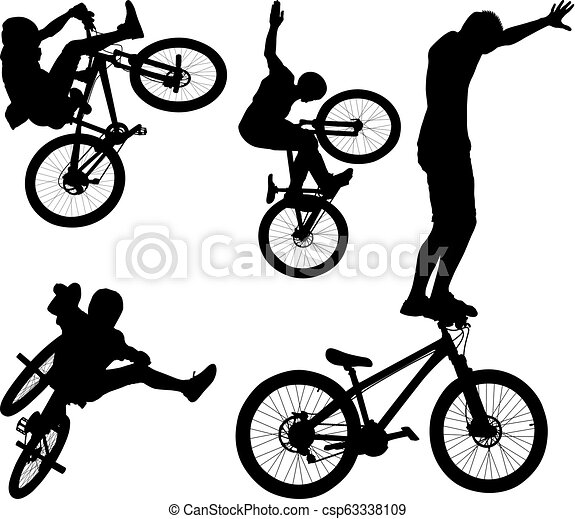 Cyclist Silhouette Of Male Doing Bike Trick