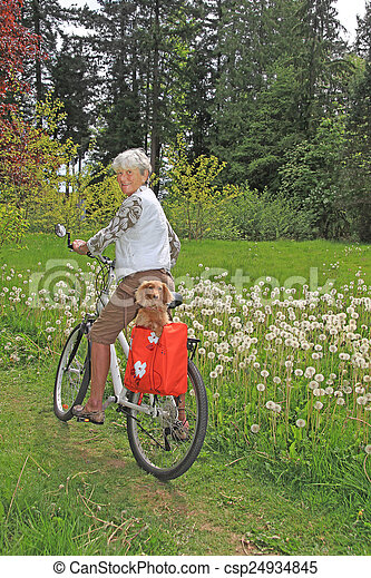 cycliste, dame, personne agee - csp24934845