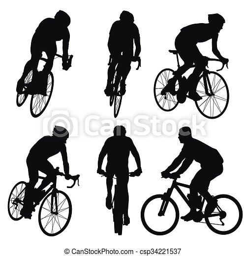 cycliste, ensemble, cyclisme, silhouettes, vecteur - csp34221537