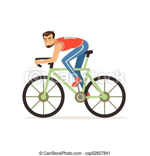 Cycliste Plat Barbu Competition Vélo Caractère Isolé Illustration Jeune Sport Vecteur Prendre Sportswear Partie Homme Courses