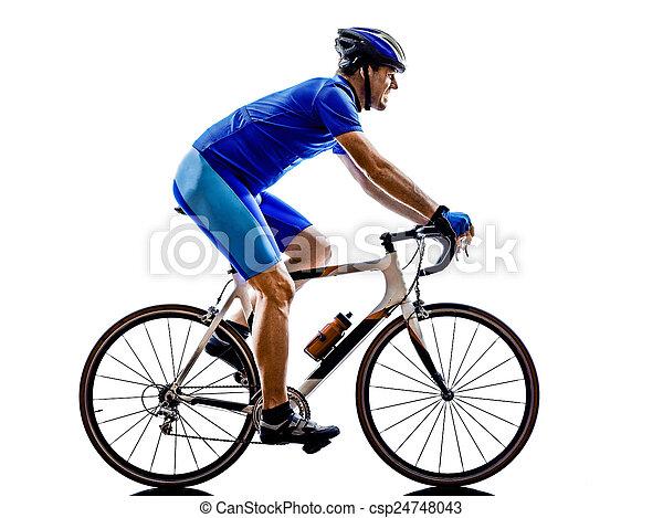 cycliste, silhouette, vélo, route, cyclisme - csp24748043