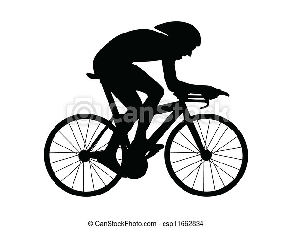 Cycliste silhouette illustration isol arri re plan - Dessin cycliste ...