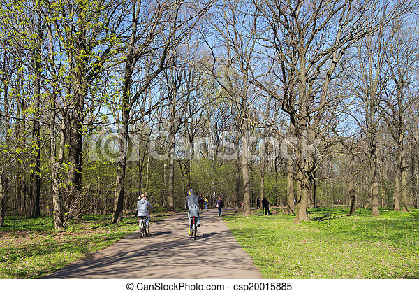 cyclists in the park - csp20015885