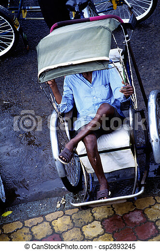 Cyclo drivers- Phnom Penh, Cambodia - csp2893245