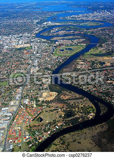 cygne, 2, aérien, rivière, vue - csp0276237
