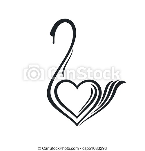 Cygne Lineaire Dessin Coeur Lineaire Formulaire Signe Cygne Dessin Stylise Image Compagnie Canstock
