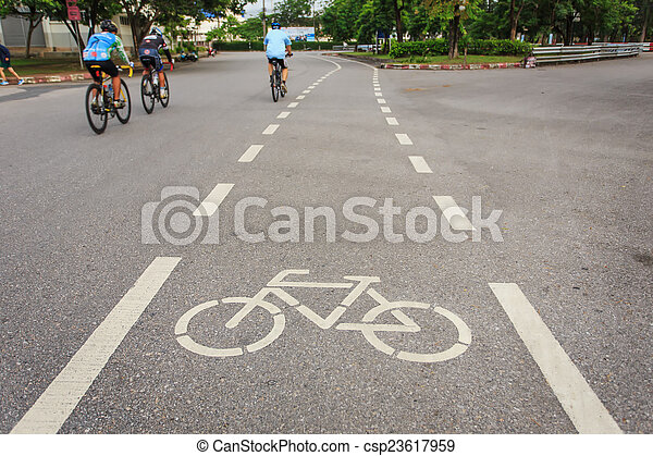 cyklist, cykel parkera, underteckna, ikon, eller, rörelse - csp23617959