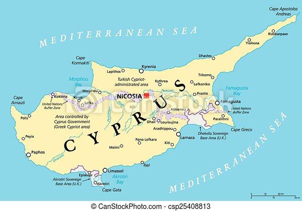 karta cypern Cypern, politisk, karta. Karta, scaling., illustration., nicosia  karta cypern