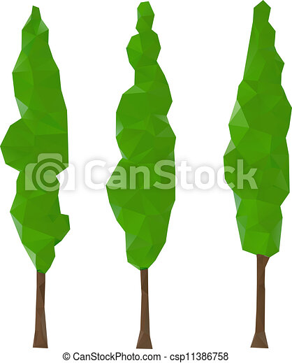 Cypress trees. Green cypress trees, vector illustration.