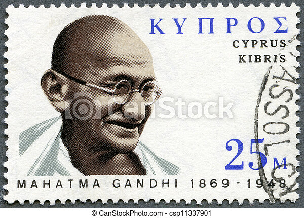CYPRUS - CIRCA 1970: A stamp printed in Cyprus shows portrait of Mohandas Karamchand Gandhi (1869-1948), birth centenary, leader in India's struggle for independence, circa 1970 - csp11337901