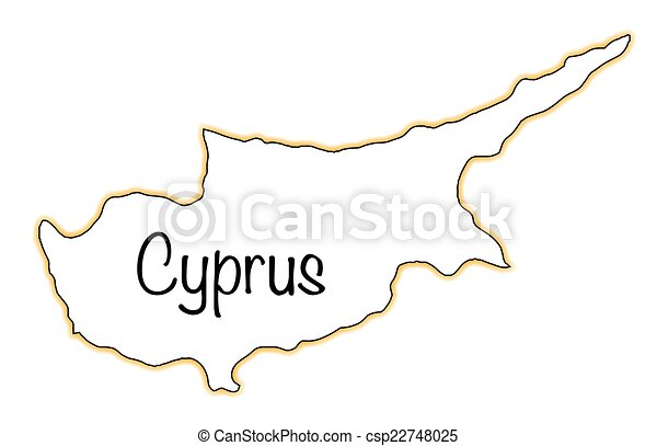 Cyprus Outline Map Of Ctprus Over A White Background Vector - Cyprus blank map