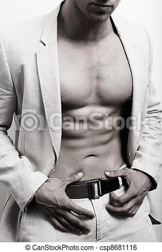 człowiek, sexy, wartość bezwzględna, muskularny, garnitur - csp8681116