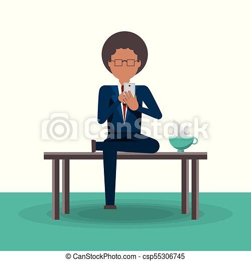 człowiek, telefon, czytanie, handlowa nowość - csp55306745