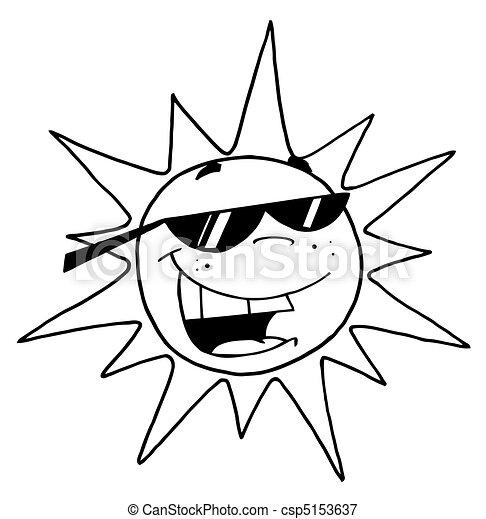 czarnoskóry, białe słońce, szkic - csp5153637
