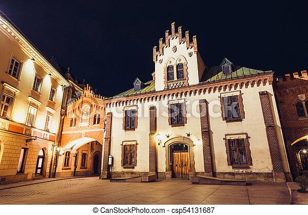 Czartoryski Museum in old town of Krakow at night, Poland - csp54131687