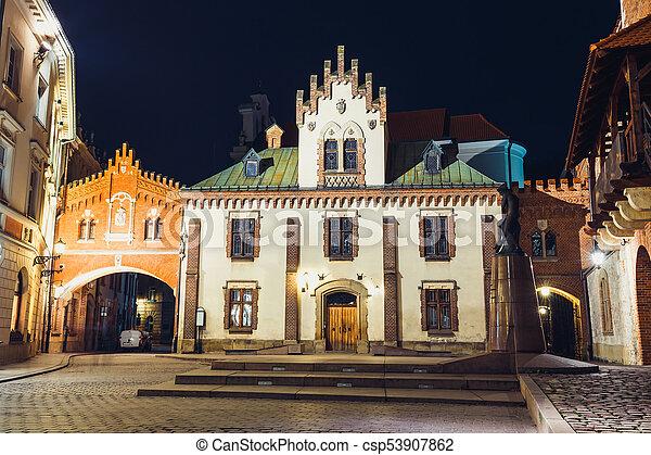 Czartoryski Museum in old town of Krakow at night, Poland - csp53907862