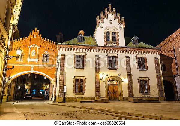 Czartoryski Museum in old town of Krakow at night, Poland - csp68820564