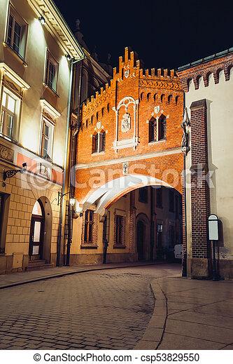 Czartoryski Museum in old town of Krakow at night, Poland - csp53829550