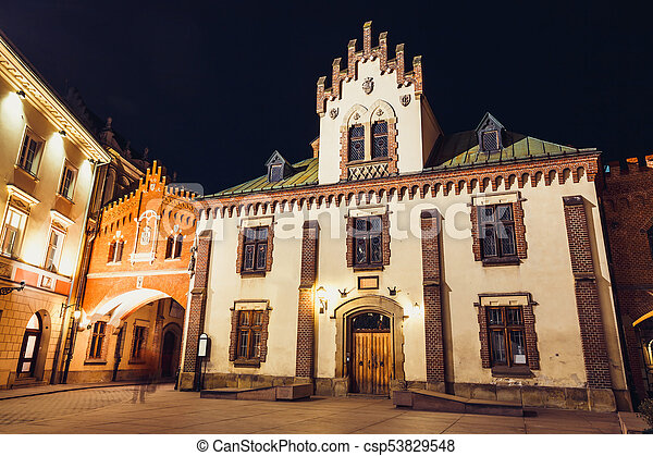 Czartoryski Museum in old town of Krakow at night, Poland - csp53829548