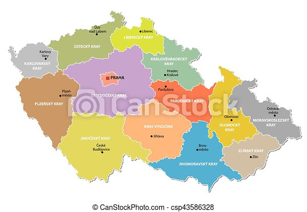 Czech republic administrative map Czech republic vector